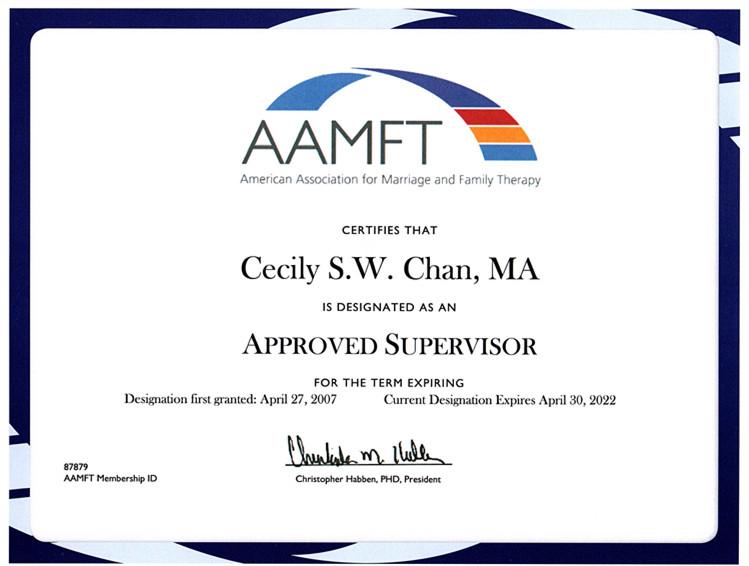 AAMFT Approved Supervisor in Hong Kong